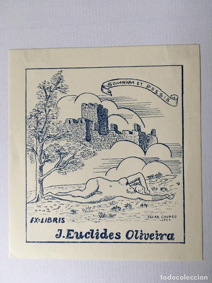 EX-LIBRIS EXLIBRIS OSCAR CAVACO, 1954. CASTILLO ARBOL DESNUDO FEMENINO (Arte - Ex Libris)