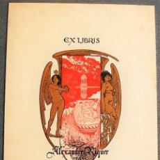 Arte: EX-LIBRIS DE ALEXANDRE DE RIQUER 1901. Lote 219413458