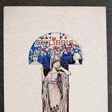 Arte: EX-LIBRIS DE ALEXANDRE DE RIQUER PARA EL DR. RUDOLF NEUMANN 1901. Lote 219414043