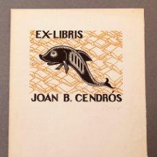 Arte: GRANYER - XILOGRAFÍA EX-LIBRIS DE JOAN CENDROS - NADALA DE 1962 NUMERADA. Lote 220491531