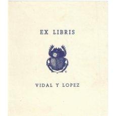 Arte: EX- LIBRIS.- VIDAL Y LOPEZ. ANIMALES. ESCARABAJO. LIBROS. Lote 221484238