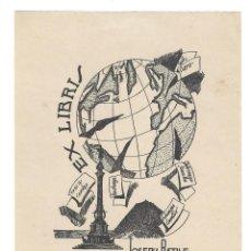 Arte: EX- LIBRIS.- JOSEPH BATLLE. GLOBO TERRAQUEO. COLON. VIAJES. ARTE. LIBROS. Lote 221563078