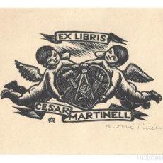Arte: EX- LIBRIS.- CESAR MARTINELL. ILUSTRADO POR A. OLLE PINELL. ÁNGELES. ARTE. LIBROS (FIRMADO). Lote 221563196