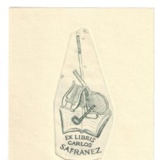 Arte: EX- LIBRIS.- CARLOS SAFRANEZ. ILUSTRADO POR ALPRESA. DEPORTE. MÚSICA. ARTE. LIBROS. Lote 221564241