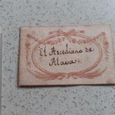 Arte: EX-LIBRIS SIGLO XVIII EL ARCEDIANO DE ALAVA. Lote 221947770