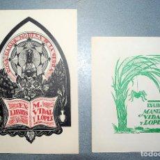 Arte: 2 EX-LIBRIS DE J. ANGLADA VILLÁ PARA MANUEL VIDAL Y LÓPEZ. 1950 Y 1951. Lote 222051137
