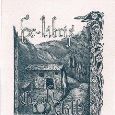 Arte: 1946 ANTIGUO EX- LIBRIS CASAL I VALL Nº1 VALLS D´ANDORRA AUTOR: JOSEP DERIGUER - AMB RODOLÍ (2). Lote 222304032