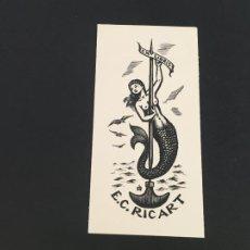 Arte: EXLIBRIS E.C. RICARD. Lote 223688243