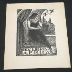 Arte: EXLIBRIS ASSOCIACIO EXLIBRIS BARCELONA AEB 1952. Lote 223688552