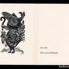 Arte: A4-16-2 EX LIBRIS DE LOU STRIK PARA MYRA EN JAN RHEBEERGEN AUTOGRAFIADO A LAPIZ.. Lote 235604345