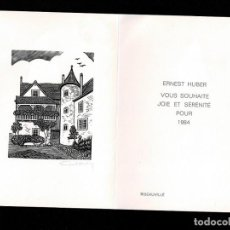 Arte: A4-16-6 EX LIBRIS FELICITACION DE ERNEST HUBER PARA 1984 TAMAÑO 21 X 15 CM. Lote 235604865