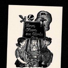 Arte: A4-17-8 EX LIBRIS DE FERZY DRUZYEKI PARA FINN OLSEN 1979.. Lote 235609175
