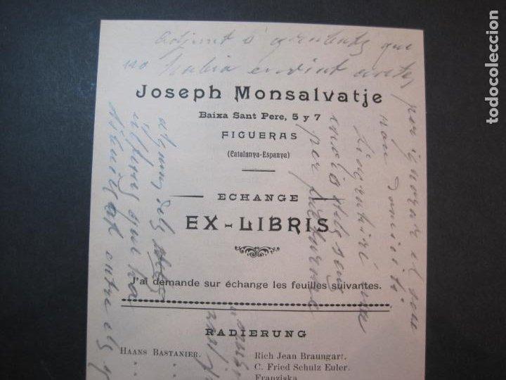 Arte: EX LIBRIS-FIGUERAS-JOSEPH MONSALVATJE-ECHANGE EXLIBRIS-LISTADO-VER FOTOS-(K-1754) - Foto 3 - 238835200