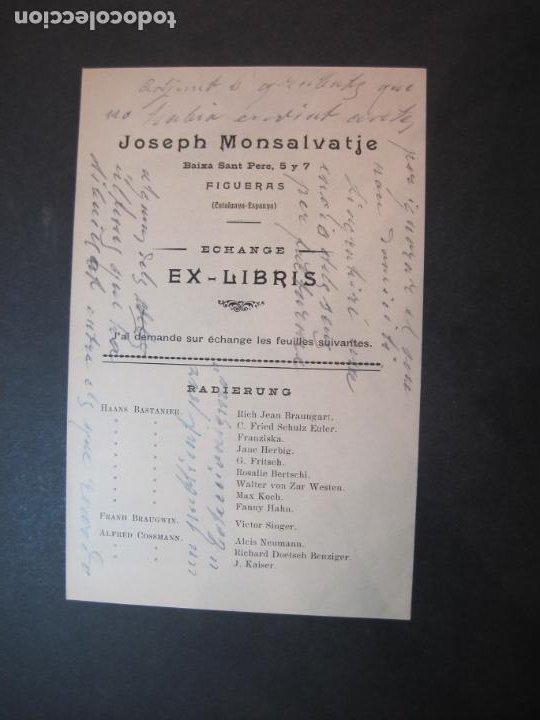 EX LIBRIS-FIGUERAS-JOSEPH MONSALVATJE-ECHANGE EXLIBRIS-LISTADO-VER FOTOS-(K-1754) (Arte - Ex Libris)