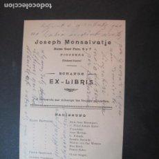 Arte: EX LIBRIS-FIGUERAS-JOSEPH MONSALVATJE-ECHANGE EXLIBRIS-LISTADO-VER FOTOS-(K-1754). Lote 238835200
