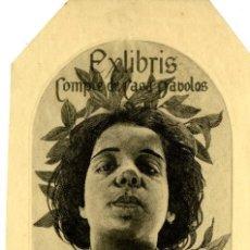 Arte: ALEXANDRE DE RIQUER. EX LIBRIS COMPTE DE CASA DAVOLOS, 1903. Lote 246006545