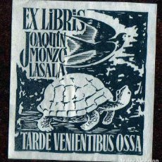 Arte: GIROEXLIBRIS.-1940 EX LIBRIS DE TORTUGA PARA JOAQUIN MONZO LASALA CON UNAS MEDIDAS DE 5 X 5,5 CTMS.. Lote 246070425