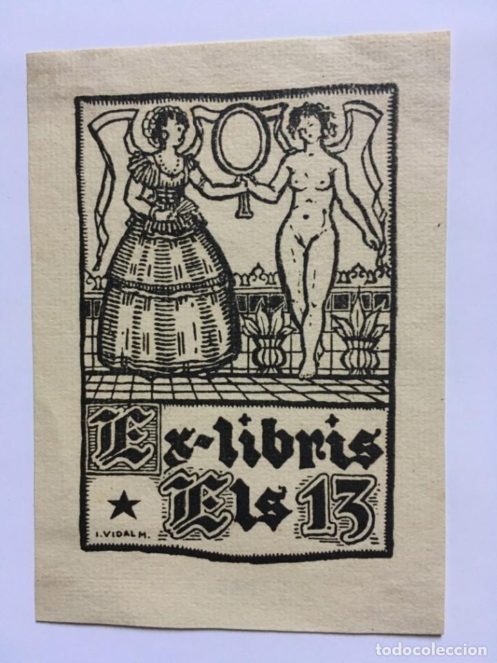 EX-LIBRIS EXLIBRIS IGNASI VIDAL. DAMA MUCHACHA DESNUDO ESPEJO (Arte - Ex Libris)