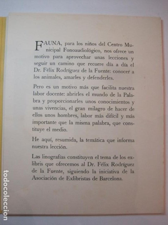 Arte: EX LIBRIS BASADOS EN EL TEMA FAUNA-BARCELONA, 1970-CENTRO MPAL FONOAUDIOLOGICO-VER FOTOS-(K-2719) - Foto 6 - 261625915