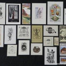 Arte: CONJUNTO DE 22 EXLIBRIS DE ARTISTAS VARIOS. Lote 269049633