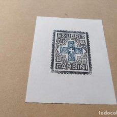 Arte: EX-LIBRIS DE GAMBINI - PAX FIDES SPES CARITAS - XILOGRAFÍA IORG GAMBINI. Lote 270916308