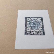 Arte: EX-LIBRIS DE I. GAMBINI - IN HOC SIGNO VINCES - XILOGRAFÍA IORG GAMBINI. Lote 270918438