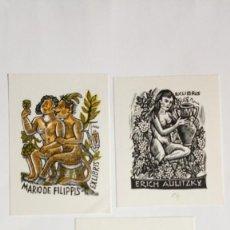 Arte: LOTE DE 3 EX-LIBRIS EXLIBRIS HUFFERT, OTT. DESNUDO UVAS VINO.. Lote 275464818