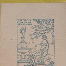 Arte: EX-LIBRIS CONCEPCIÓ PERMANYER - DIBUIX JOAN D'IVORI. Lote 284567778