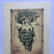 Arte: EX-LIBRIS EXLIBRIS BOHUMIL KRATKY, 1971. DESNUDO UVAS. Lote 286335798