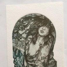 Arte: . EX-LIBRIS EXLIBRIS PAVEL HLAVATY. DESNUDO ERÓTICO MARIPOSA. Lote 286915033