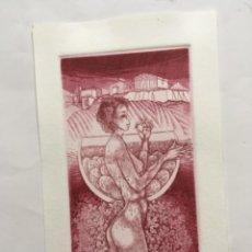 Arte: EX-LIBRIS EXLIBRIS JORIS MOMMEN.DESNUDO GRECIA ACROPOLIS COPA UVAS. Lote 286915763