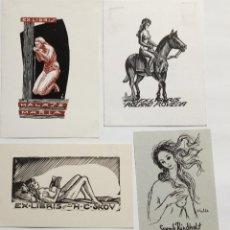 Arte: LOTE DE 4 EX-LIBRIS EXLIBRIS. DESNUDO FEMENINO CABALLO LIBRO. Lote 286938548