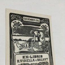 Arte: EX-LIBRIS EXLIBRIS CASALS Y VERNIS. REUS CAMPESINA GALLO GALLINA PATO. Lote 287852833