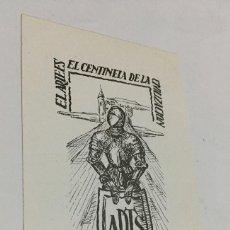 Arte: EX-LIBRIS EXLIBRIS PARA M. DE LA PEÑA, 1949. CABALLERO ARMADURA, ESCUDO CASTILLO. Lote 287929463