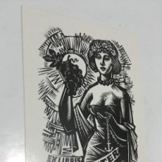 Arte: EX-LIBRIS EXLIBRIS ANTAL FERY. MUJER UVAS ANCLA. Lote 287931453