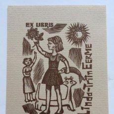 Arte: EX-LIBRIS EXLIBRIS J. NAHA, 1965. NIÑA FLOR PESCADO GATO. Lote 288068528