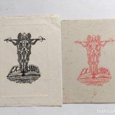 Arte: LOTE DE 2 EX-LIBRIS EXLIBRIS RIGOBERTO G. ARCE, 1946. CABALLERO MEDIEVAL BALLESTA LIBRO. Lote 288073153