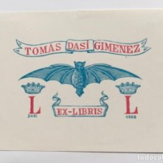 Arte: EX-LIBRIS EXLIBRIS DASI, 1945. MURCIELAGO CORONA. Lote 288169648