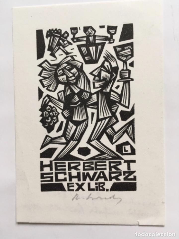 EX-LIBRIS EXLIBRIS R. LEWANDOWSKI, 1981. PAREJA BAILE UVAS VINO (Arte - Ex Libris)