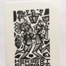 Arte: EX-LIBRIS EXLIBRIS R. LEWANDOWSKI, 1981. PAREJA BAILE UVAS VINO. Lote 288170453