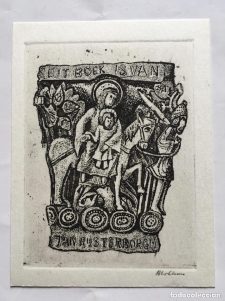 EX-LIBRIS EXLIBRIS HENK BLOKHUIS. CAPITEL ROMANICO VIRGEN MARIA NIÑO JESUS SOLDADO HUIDA EGIPTO (Arte - Ex Libris)