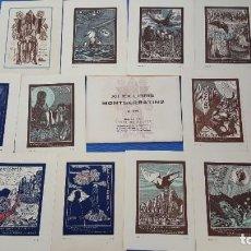 Arte: XII EX LIBRIS MONTSERRATINS 2A SERIE ANGEL BATLLE Y TEJEDOR. Lote 289842833