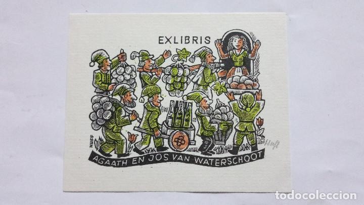 EX-LIBRIS EXLIBRIS HUFFERT. BLANCANIEVES Y LOS SIETE ENANITOS UVAS VINO (Arte - Ex Libris)