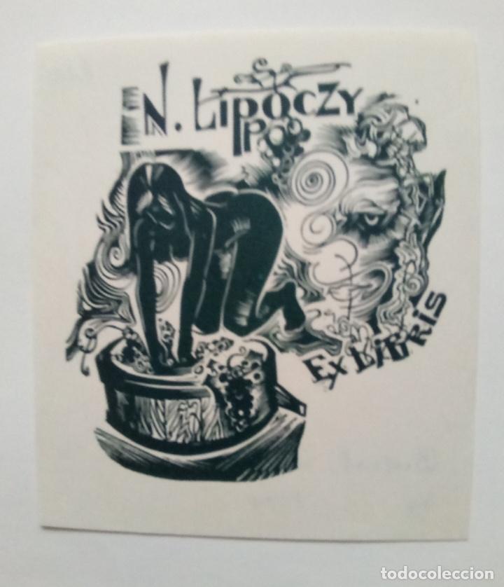 EX-LIBRIS EXLIBRIS ALEXANDER BUSZOK, 1980. DESNUDO PRENSA UVAS (Arte - Ex Libris)