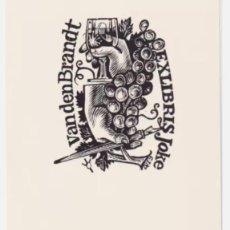 Arte: EX-LIBRIS EXLIBRIS FRANK IVO VAN DAMME, OPUS 479. COPA DE VINO UVAS MANO PLUMA. Lote 294083838