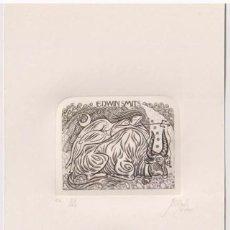 Arte: EX-LIBRIS EXLIBRIS VOLODYMYR TARAN, 2000. DESNUDO TORO LUNA RAPTO DE EUROPA.. Lote 294084788