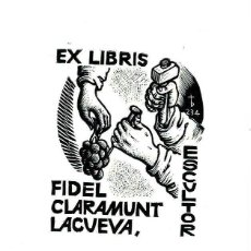 Arte: EX-LIBRIS EXLIBRIS ORIOL MARIA DIVÍ, OPUS 234, 1984. ESCULTOR UVAS. Lote 295769608
