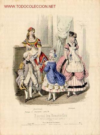 GRABADO DE 1869 - MODA. MEDIDAS 36,5 X 27,5 CMS (Arte - Grabados - Antiguos hasta el siglo XVIII)
