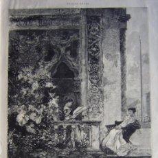 Art: BELLAS ARTES - LECTURAS EN EL MIRADOR, CUADRO DE D. FRANCISCO PRADILLA.-. Lote 13132377