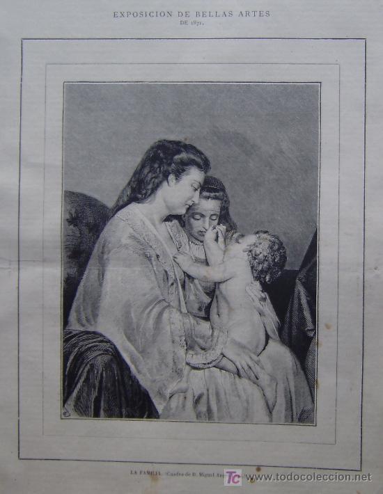 LA FAMILIA - CUADRO DE D. MIGUEL ANGEL LUPI.- (Arte - Grabados - Modernos siglo XIX)